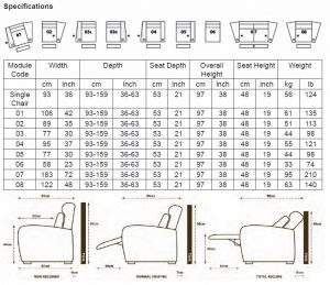 Frontrow seating dimensions